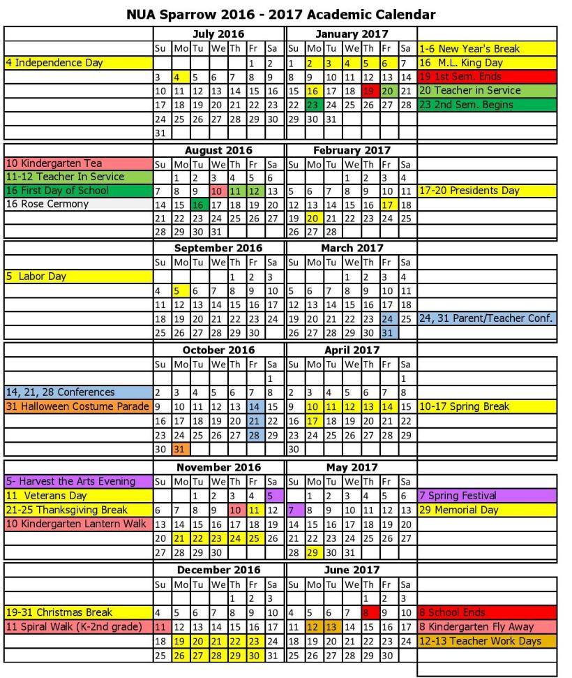 2016-2017 NUA Sparrow Calendar