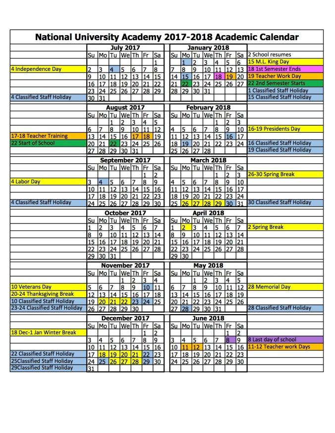 NUA Sparrow Calendar 17-18